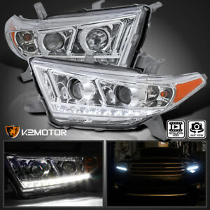 For 2011 2013 Toyota Highlander Led Drl Projector Headlights Head Lamps L R
