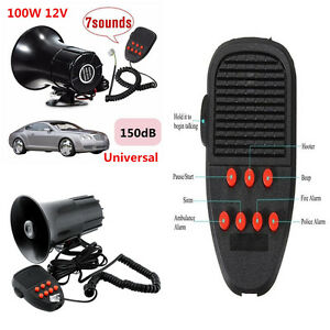 7 Sound Loud Car Warning Security Alarm Police Fire Siren Selector System 150db