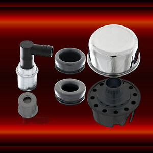 Chrome Breather And Pcv Valve Set For Ford Chevy Mopar Pontiac Oldsmobile
