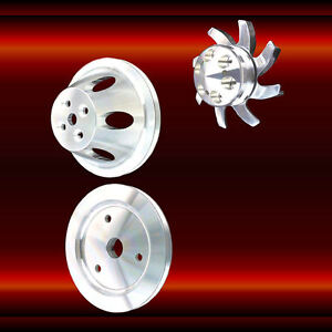 396 427 454 Billet Big Block Chevy Short Water Pump 1 Groove 3 Pulley Set Bbc