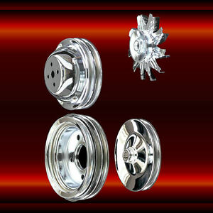 Chrome 4 Pulley Set For Big Block Chevy Short Water Pump 396 427 454 1965 1969