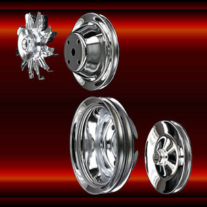 Chrome Small Block Chevy Pulleys Long Water Pump 4 Pulley Set 327 350 383 400