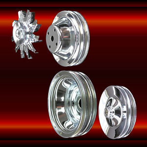 Chrome Small Block Chevy 4 Pulley Set Long Wp Full Set 283 327 350 383 400