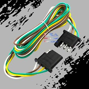 4 Pin Plug Trailer Light Wiring Harness Extension Flat Wire Connector 12ft 18awg