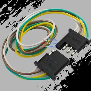 4 Pin Plug Trailer Light Wiring Harness Extension 18 Awg Flat Wire Connector 1ft