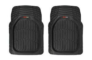 Odorless Deep Rubber Large Front Car Floor Mats 2 Piece Set All Weather Black