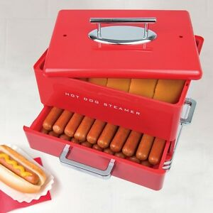 Nostalgia Dinner Style Hot Dog Steamer Cooker Machine Buns Warmer Hot Dog Roller