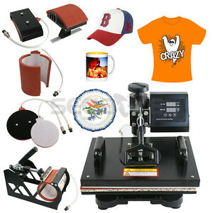 5in1 Swing Away Print Sublimation Heat Press Transfer Machine T shirts Mugs Hats