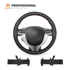 Top Design Black Leather Steering Wheel Cover For Honda Accord 8 Coupe Crosstour