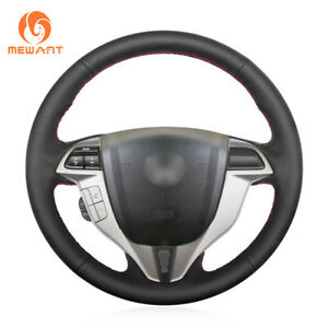Black Leather Car Steering Wheel Cover For Honda Accord 8 Coupe Crosstour