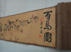102 Chinese Ancient Picture Silk Paper 100 Horse Scroll Painting