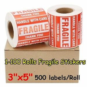 1 100 Rolls 3 X 5 Fragile Stickers Handle With Care Label 500 roll Self Adhesive