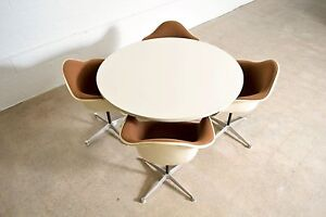 Mid Century Eames Herman Miller Aluminum Group Dining Set Table With Pac Chairs