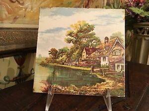 English Tile Lovely Country Scene 6 House On A Lake