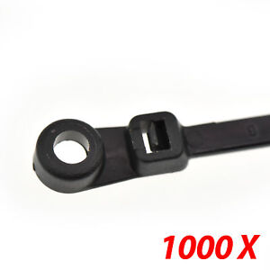 1000 Nylon Cable Wire Zip Ties Mounting Hole Nail Screw 50 Lbs 8 Inch Black
