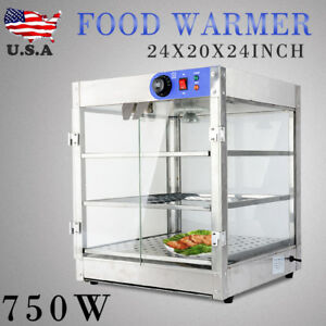 3 tier Commercial 20x20x24 Inch Food Pizza Pastry Warmer Countertop Display Case