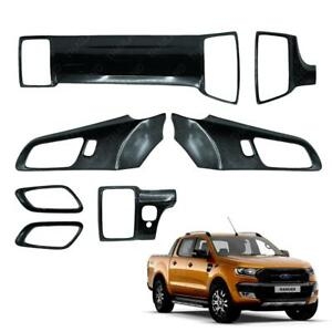Interior Panel Dashboard Doors Air Cover Carbon 7 Pc Fit Ford Ranger 2015 2017