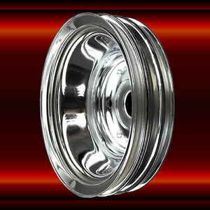 Crankshaft Pulley 3 Groove For Small Block Chevy 350 383 400 Lwp Chrome Sbc