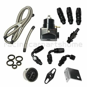 Universal Black Adjustable Fuel Pressure Regulator Kit Oil 0 100psi Gauge 6an