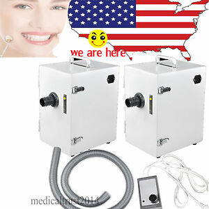 2x Bench Box Type Digital Single row Vacuum Dust Collector Dental Lab Equipment