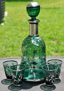 Antique Blue Green Glass Decanter 4 Cordial Cups Sterling Silver Overlay