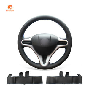 Hand Sewing Black Leather Steering Wheel Cover For Honda Fit 2009 2013 City Jazz