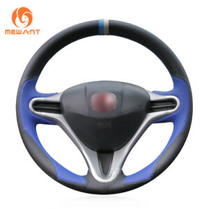 Soft Black Blue Leather Steering Wheel Cover For Honda Fit 2009 2013 City Jazz