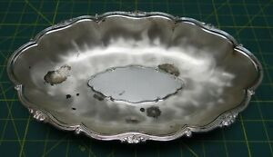 Wmf Ikora 108 6587 Silver Plated Footed Dish With Mirror Center 11 1 4 X 7 1 8