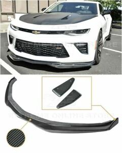 For 16 Up Camaro Ss V8 R Style Front Bumper Carbon Fiber Lip W Side Splitters