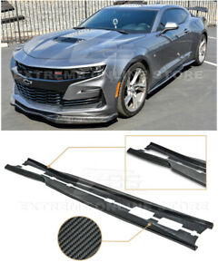 Carbon Fiber T6 Style Side Skirts Panels Extension For 16 up Camaro Ss Rs