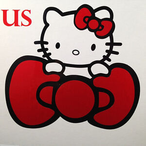 Hello Kitty W Red Bow Car Sticker Emblem Label Window Laptop Ipad Stick 4
