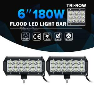 2x Tri row 6inch 180w Cre Led Work Light Bar Flood Offroad Driving 4wd Truck 7