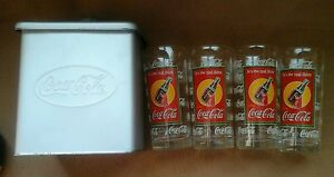 COCA COLA GLASSES WITH COVERED TIN CASE! ANCHOR GLASSES
