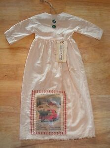 Grungy Hanging Muslin Doll Dress Primitive Folk Art Cupboard Christmas Green