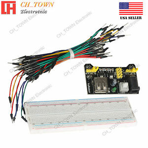 Mb 102 Power Supply Module Solderless Breadboard 830 Point 65pcs Jumper Cable Us