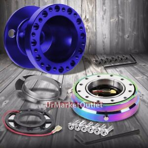 Blue Steering Wheel Hub Adapter iridium Quick Release For 92 95 Civic Eg Eh Ej