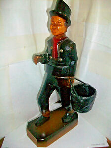 Vintage Hand Carved Wood Figurine Fire Bucket Brigade Carrying A Fire Bucket