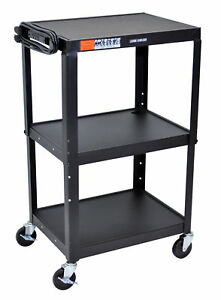 Luxor Multipurpose Adjustable Height Three Shelves Steel A v Utility Cart black