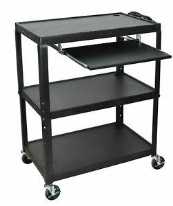 Luxr avj42xlkb luxor Extra Wide Steel Adjustable Height A v Cart W pullout Keyb