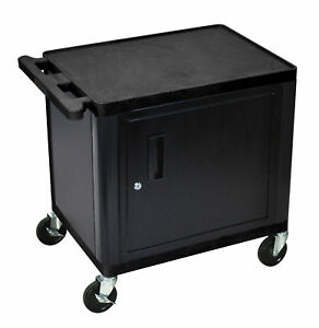 Luxr lp26ceb luxor Black 2 Shelf A v Cart W Cabinet 26 H