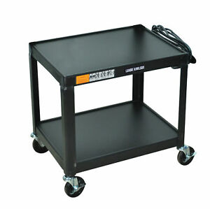 Luxor Multipurpose W26e 2 Shelves Fixed Height Steel A v Cart 26 H Black