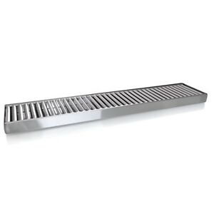 Stainless Steel Drip Tray No Drain 4 X 19 In Beer Wall Surface Mount Removeable