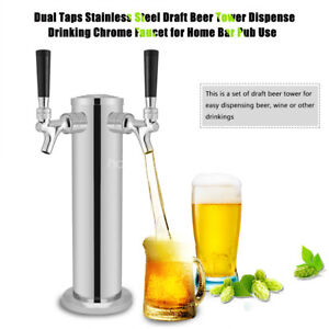 Double 2 Tap Stainless Steel Draft Beer Tower Kegerator Chrome Faucets Silver Hg