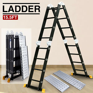 New 15 5ft Aluminum Multi Purpose Ladder Telescoping Folding Extension Platform