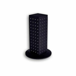 4 sided Revolving Pegboard Counter Display Jewelry Tall Stand Holder Rack Black