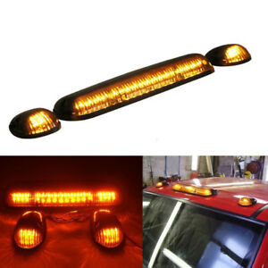 3pc Smoke Cab Roof Running Amber Led Lights For 02 14 Chevy Silverado Gmc Sierra