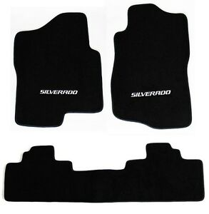 New Black Floor Mats 2007 2013 Chevy Silverado Embroidered Logo Crew Cab 3pc Set