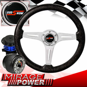 Deep Dish Metallic Black Steering Wheel Blue Quick Release For 89 05 Eclipse