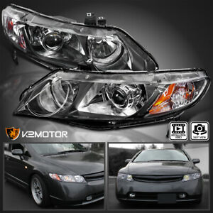 Black Retro For 2006 2011 Honda Civic 4dr Projector Headlights Replacement Pair