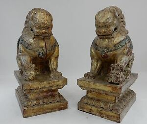 Colossal Antique Qing Dynasty Temple Foo Dogs Gold And Silver Leaf 37 Inches